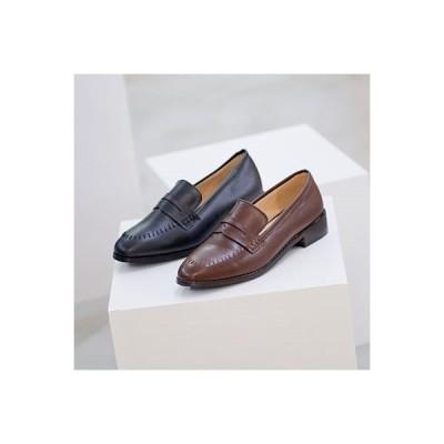 ローファー レディースシューズ おじ靴 革靴 ブラック 黒 ブラウン コインローファー オックスフォード 婦人靴 シンプル