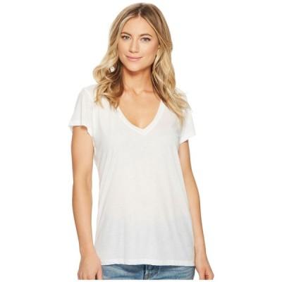 オルタナティヴ Alternative レディース Tシャツ Vネック トップス Melange Burnout Jersey Slinky V-Neck White