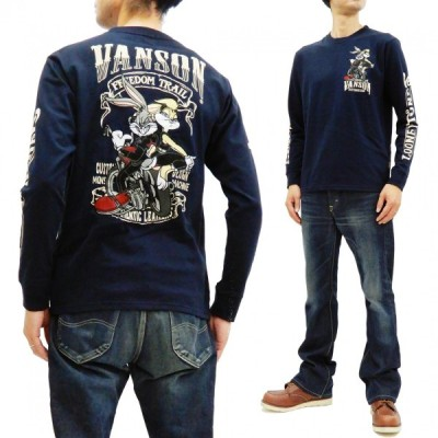 バンソン バッグスバニー ローラバニー 長袖Tシャツ VANSON 刺繍 ロンT タンデムデザイン LTV-925 ネイビー 新品