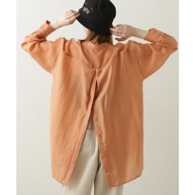 ダブルネーム DOUBLE NAME BACKボタンバンドカラーシアーシャツ (オレンジ)