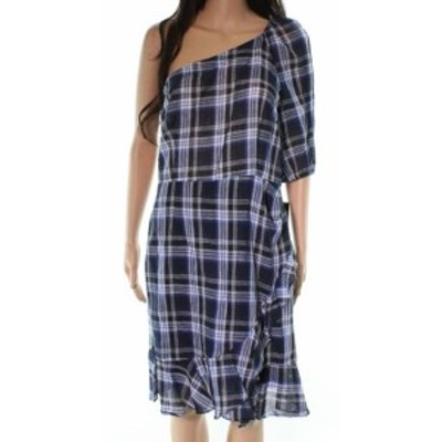 Donna Morgan ドナモーガン ファッション ドレス Donna Morgan NEW Blue Plaid One Shoulder Women 10 Linen Sheath Dress