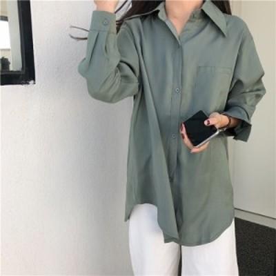 トップス ブラウス サテン 光沢 Yシャツ シャツ きれいめ 上品 オフィス オフィスカジュアル 通勤 ネイビー グリーン オフホワイト