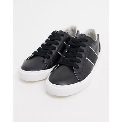 エイソス ASOS DESIGN メンズ スニーカー シューズ・靴 trainers with side stripe in black ブラック