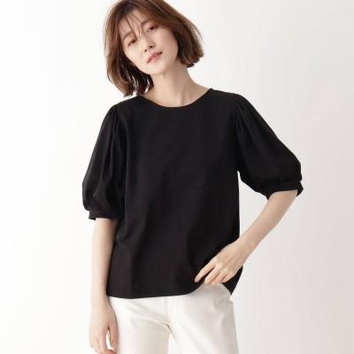 シューラルー SHOO-LA-RUE ひんやり袖ギャザーTシャツ (ブラック)