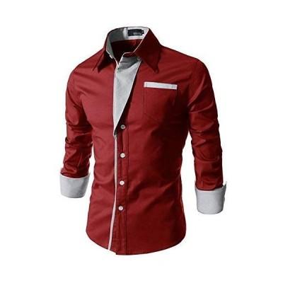 (SGL Collection) ドレスシャツ メンズ 長袖 ストライプ 折り返し デザイン レギュラー スタンダード カラー スリム タイ