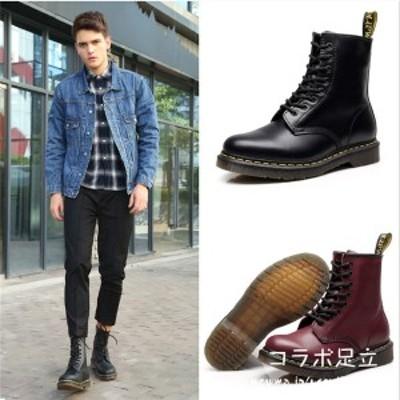 秋新作 靴 ブーツ メンズ  PU レザーレースアップ ショートブーツ