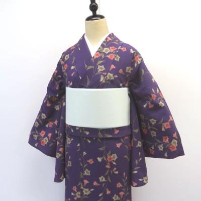 小紋 紫地に桔梗のような花 小振袖 中古 美品