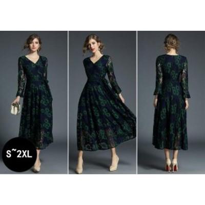 好評発売中 新品 上品 きれいめ 女性 大人 ファッション ワンピース Vネック  長袖 レース フレア パーティードレス オシャレ