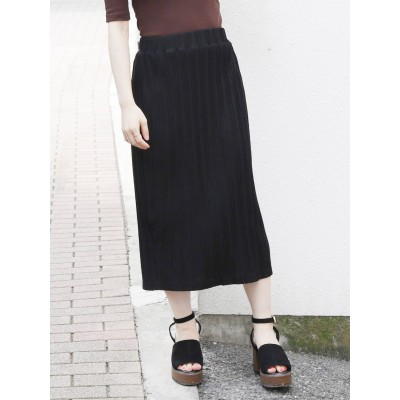 dazzlin カットプリーツミドルタイトスカート