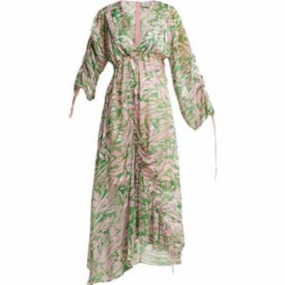 プリーン バイ ソーントン ブルガッジ Preen By Thornton Bregazzi レディース ワンピース ミドル丈 Cleo silk-blend midi dress Green a
