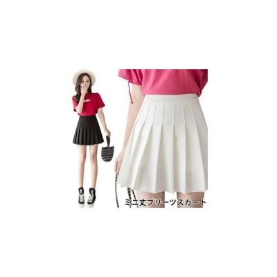 ミニスカートAラインプリーツスカートスクール風スカートショート丈インナーパンツ付きウエストゴムショートスカート爽やか夏