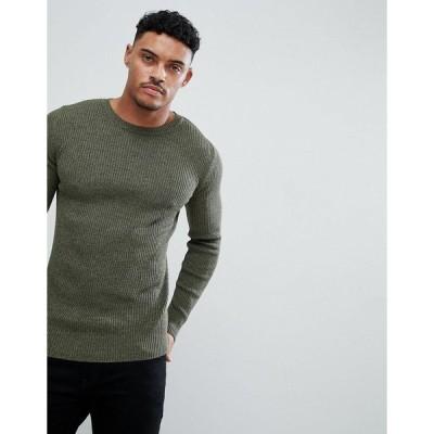 エイソス メンズ ニット、セーター アウター ASOS DESIGN muscle fit ribbed sweater in khaki twist Khaki