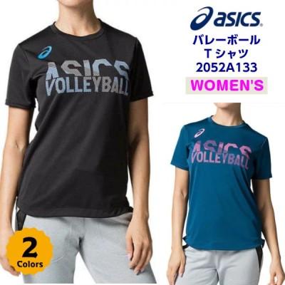 セール アシックス レディース バレーボール プラクティスTシャツ  W'Sグラフィックショートスリーブトップ 2052A133 ドライ 半袖  吸汗速乾  (K)