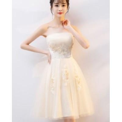 パーティードレス 結婚式 二次会 ワンピース 結婚式 お呼ばれ ドレス 20代 30代 40代 結婚式 お呼ばれドレス チューブトップ チュール パ