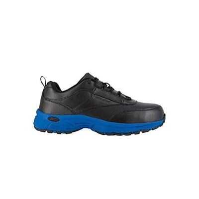Reebok Mens Black/Blue Leather Athletic Work Oxford Ateron Steel Toeインポート 送料無料