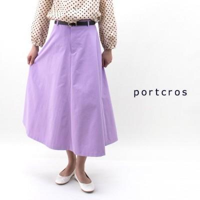 (SALE 30%OFF)portcros ポートクロス レディース ベルト付きコットンライクフレアスカート(I-8191)(2019SS)(返品交換不可)