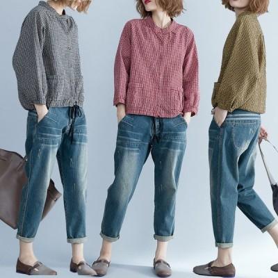 シャツ レディース カジュアルシャツ トップス 綿麻 長袖 コットン チェック柄シャツ ゆったり 春 春服