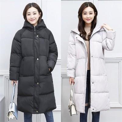 ダウンコートレディースダウンジャケットオシャレロングコートゆったりアウターフードつき通勤韓国風防寒冬服