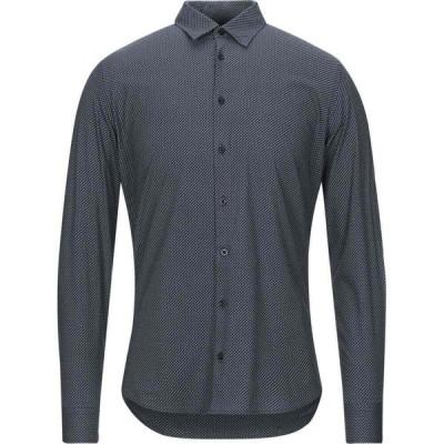 ハマキホ HAMAKI-HO メンズ シャツ トップス patterned shirt Slate blue
