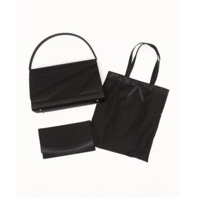 バッグ ハンドバッグ 【喪服用】斜め切替デザインブラックフォーマルバッグ・サブバッグ・袱紗3点セット