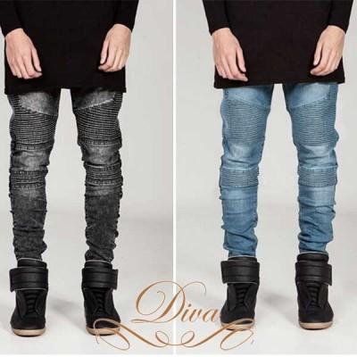 スキニーパンツ メンズ バイカーデニム 洗浄ダメージジーンズ スキニー 大きいサイズ デニム ジーンズ 長ズボン
