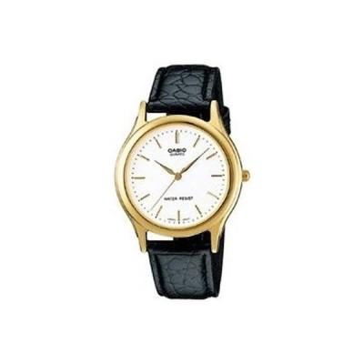 腕時計 カシオ Casio Men's Black Leather Strap Watch, White Dial, MTP1093Q-7A