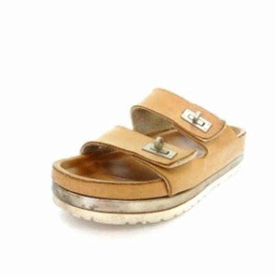【中古】ピッピシック PIPPICHIC バックル付き コンフォートサンダル シューズ 靴 ベージュ 薄茶 春夏 レディース
