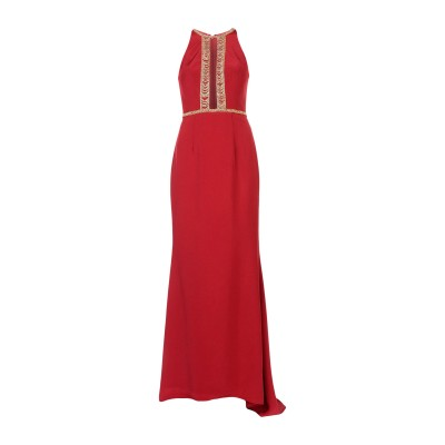 MIKAEL AGHAL ロングワンピース&ドレス レンガ 12 トリアセテート 72% / ポリエステル 28% ロングワンピース&ドレス
