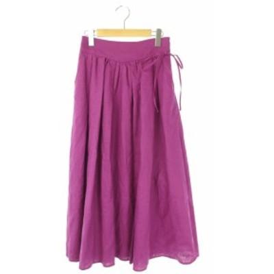 【中古】イエナ スローブ IENA SLOBE 18SS タックギャザースカート リネン ロング 36 紫 パープル /AO ■OS