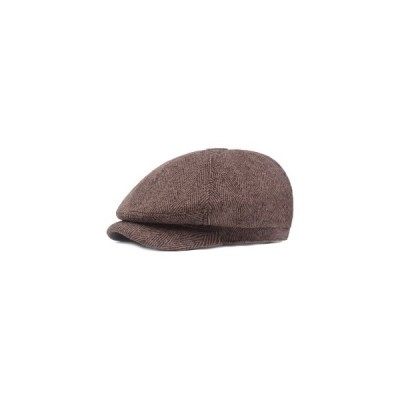 (カーキ)メンズウィンターClassicヴィンテージピンストライプファインツイルベレットはキャップをキャップした紳士帽子