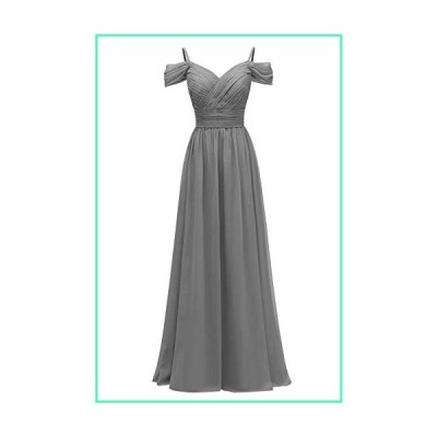 YORFORMALS Off The Shoulder Chiffon Plus Size Wedding Bridesmaid Gown Formal Evening Dress Long Size 20 Grey並行輸入品
