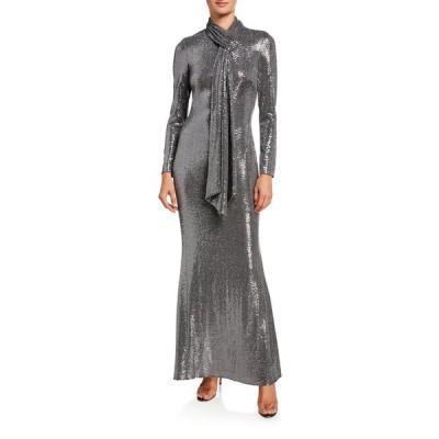 バッドグレイミッシカ レディース ワンピース トップス Sequin Tie-Neck Long-Sleeve Gown
