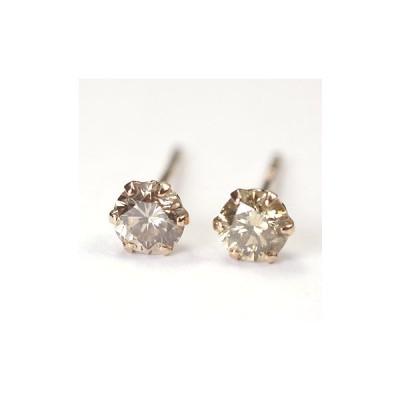 【ピンクゴールド特集】K18PG・ブラウンダイヤモンド0.3ct スタッドピアス(ピンクゴールド)