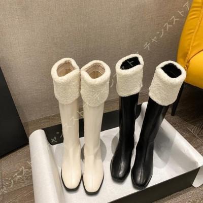 ジョッキーブーツ 大きいサイズ ロングブーツ スクエアトゥ 太ヒール キレイめ ローヒール サイドジッパー ニーハイブーツ 上品 履きやすい 歩きやすい
