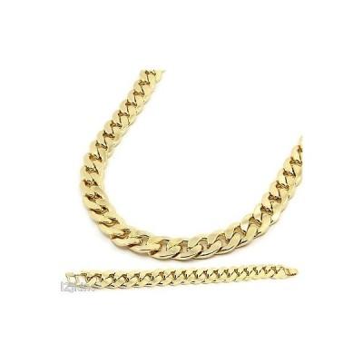 """ブレスレット アメリカン ジュエリー ヒップホップ Gold Finish Thick 14mm Hip Hop Chain & Bracelet Mens Miami Cuban Necklace 30"""""""