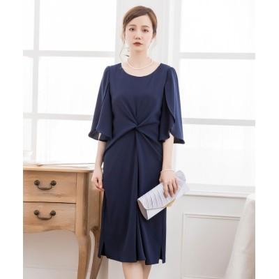 【ドレス スター】 ウエスト絞りデザインワンピースドレス レディース ネイビー Sサイズ DRESS STAR