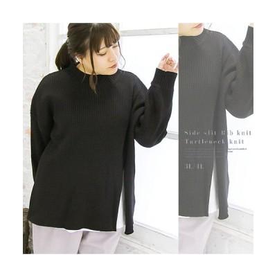 【クレット(大きいサイズ)】 サイドスリットリブ編みタートルネックニット レディース ブラック 3L clette