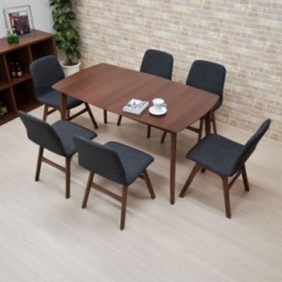 ダイニングテーブルセット 180/140 7点 伸長式 pani140-7-339wndgy 6人用 ウォールナット ファブリック チェア アウトレット 30s-7k m80n
