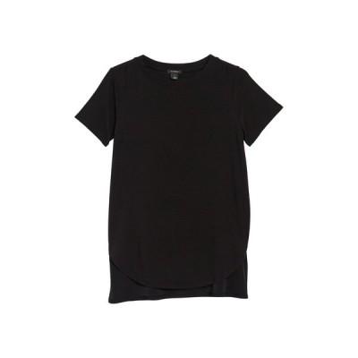 ハロゲン レディース Tシャツ トップス Short Sleeve Tunic T-Shirt BLACK