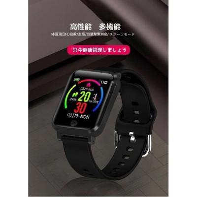 スマートウォッチ 大画面 腕時計 長い待機時間 スマートウォッチ 体温測定 IP67級防水 歩数計 心拍計 活動量計 スマートブレスレット 多機能 スポーツ腕時計