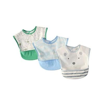 食事エプロン 防水エプロン ポケット付き 食事用 保育園用 ベビーエプロン 汚いにくい 洗いやすいと乾きやすい 子供用 可愛い 1-3歳 3枚セット