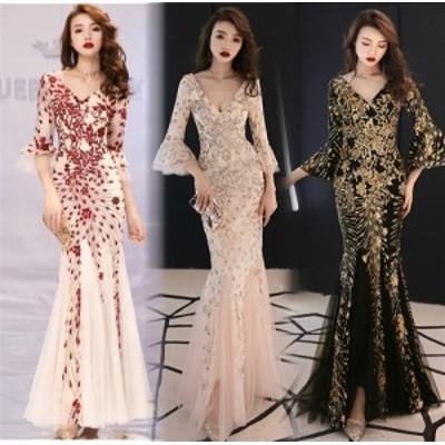 ロングドレスキャバドレスキャバワンピ煌めくスパンコール装飾にエレガントなメッシュレース重ねストレッチロングドレス