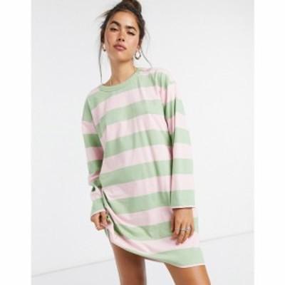エイソス ASOS DESIGN レディース ワンピース Tシャツワンピース oversized t-shirt dress with long sleeve in pink and sage stripe ピ