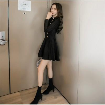 秋を楽しみしましょう! 初秋 新作 ワンビース スリム ヘップバーン ファッション カジュアル 気質 エレガント 百掛け 小さな黒いスカート カレッジ風 Aライン ミニスカート