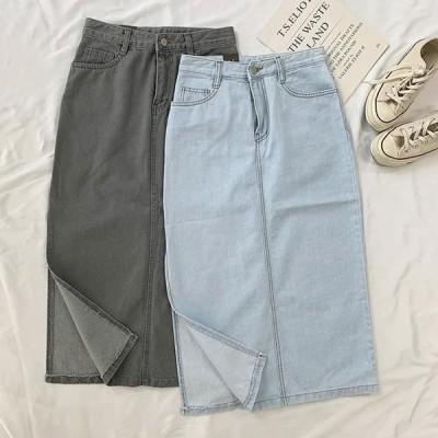 レディース スカート Side denim long skirt