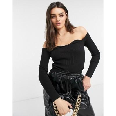 エイソス レディース ニット・セーター アウター ASOS DESIGN bardot sweater with sweetheart neckline in black
