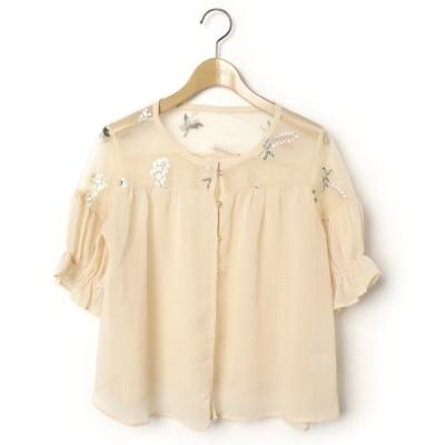 シャツ ブラウス 刺繍半袖ブラウス