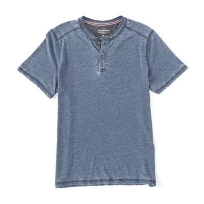 フラッグ アンド アンセム メンズ Tシャツ トップス Short-Sleeve Burnout Henley Shirt Navy