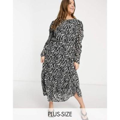 ミスガイデッド Missguided Plus レディース ワンピース ワンピース・ドレス midi smock dress with puff sleeves in zebra print ブラック