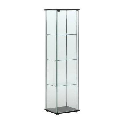 ガラスコレクションケース フィギュアケース 4段 4面ガラス 幅42.5cm 奥行36.5cm 高さ162cm ブラウン 強化ガラス マグネット式 代引不可